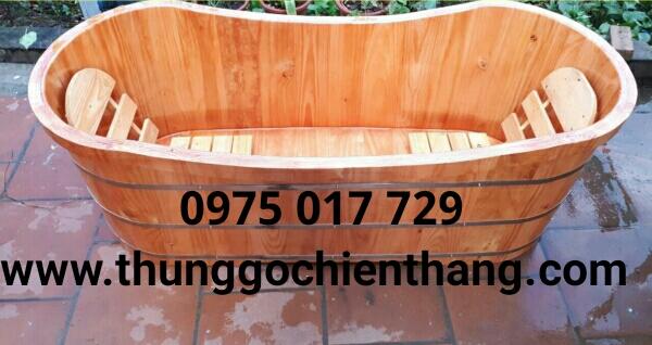 Bồn tắm gỗ đôi dáng oval