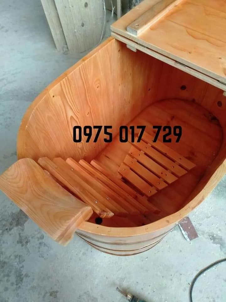 Bồn tắm gỗ đa năng dùng để tắm hoặc xông hơi dáng oval