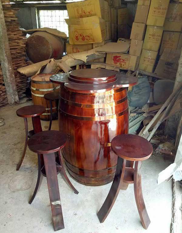 Bàn trang trí saba bằng gỗ thông