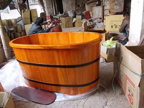 Bồn tắm gỗ cao cấp hình bầu dục
