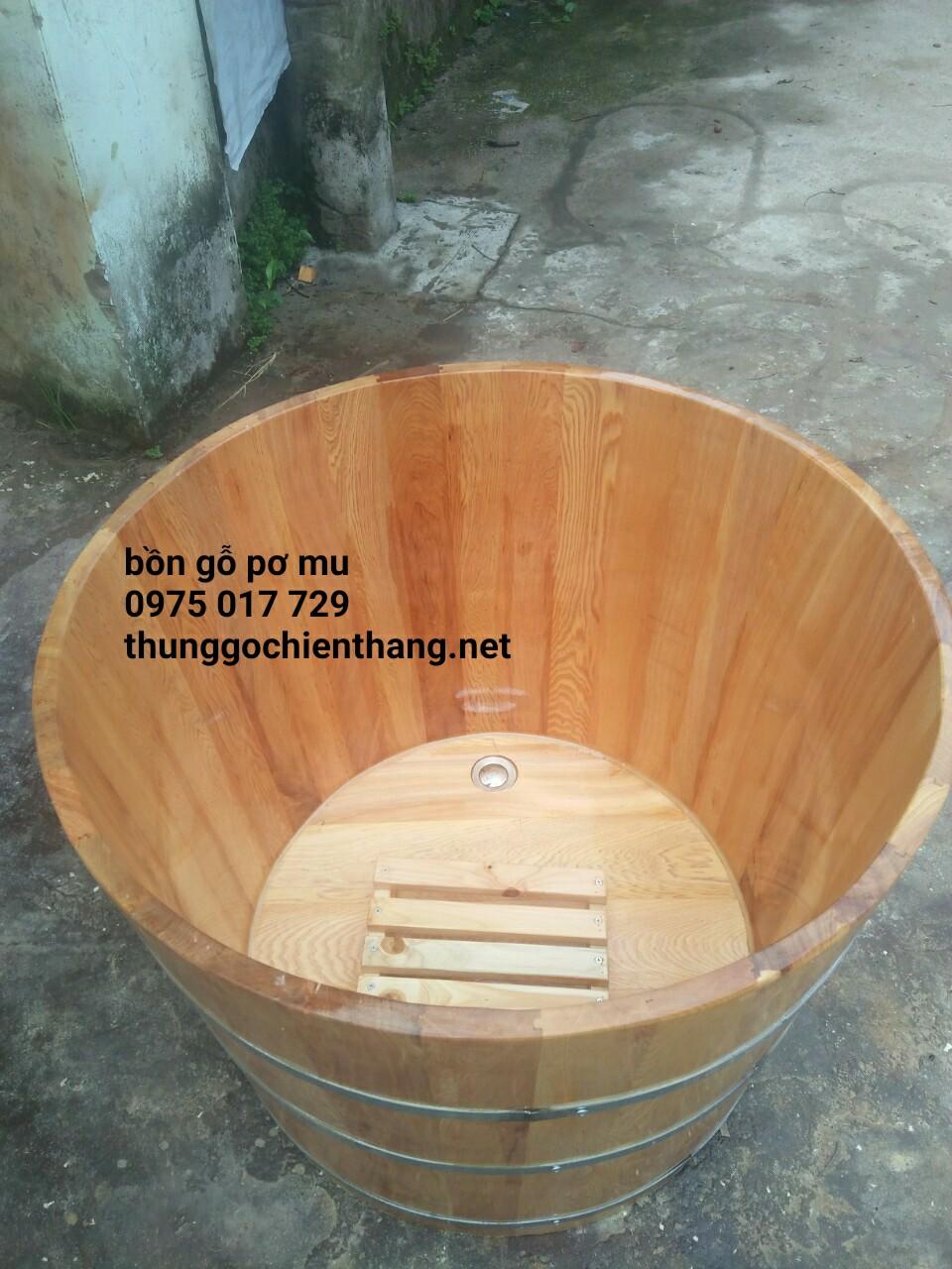Bồn tắm gỗ pơ mu cao cấp dáng tròn